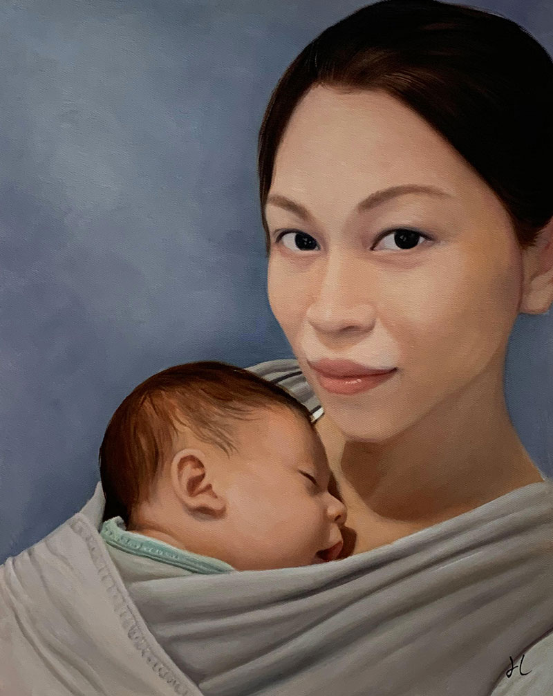 Gorgeous acrylic painting of a mother and a baby