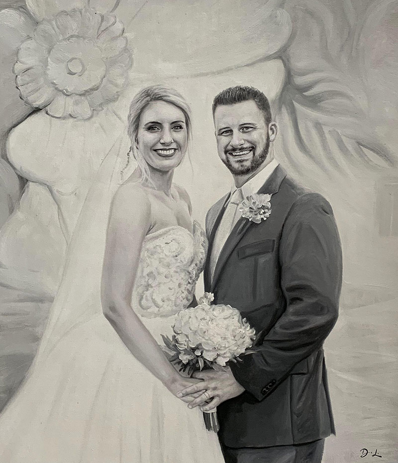 Beautiful oil painting of a happy couple