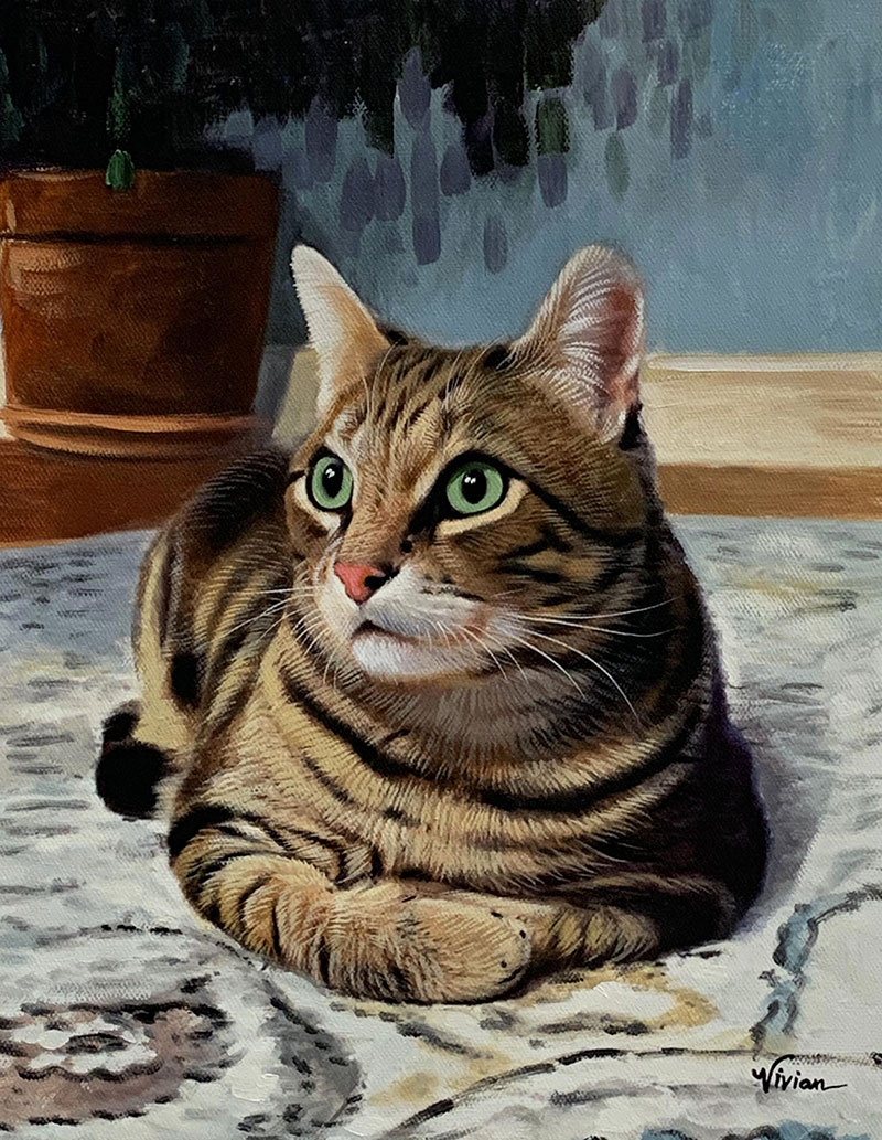 Custom acrylic painting of a cat