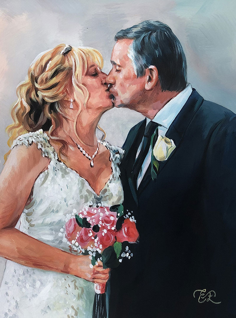 Beautiful pastel painting of a bride and a groom