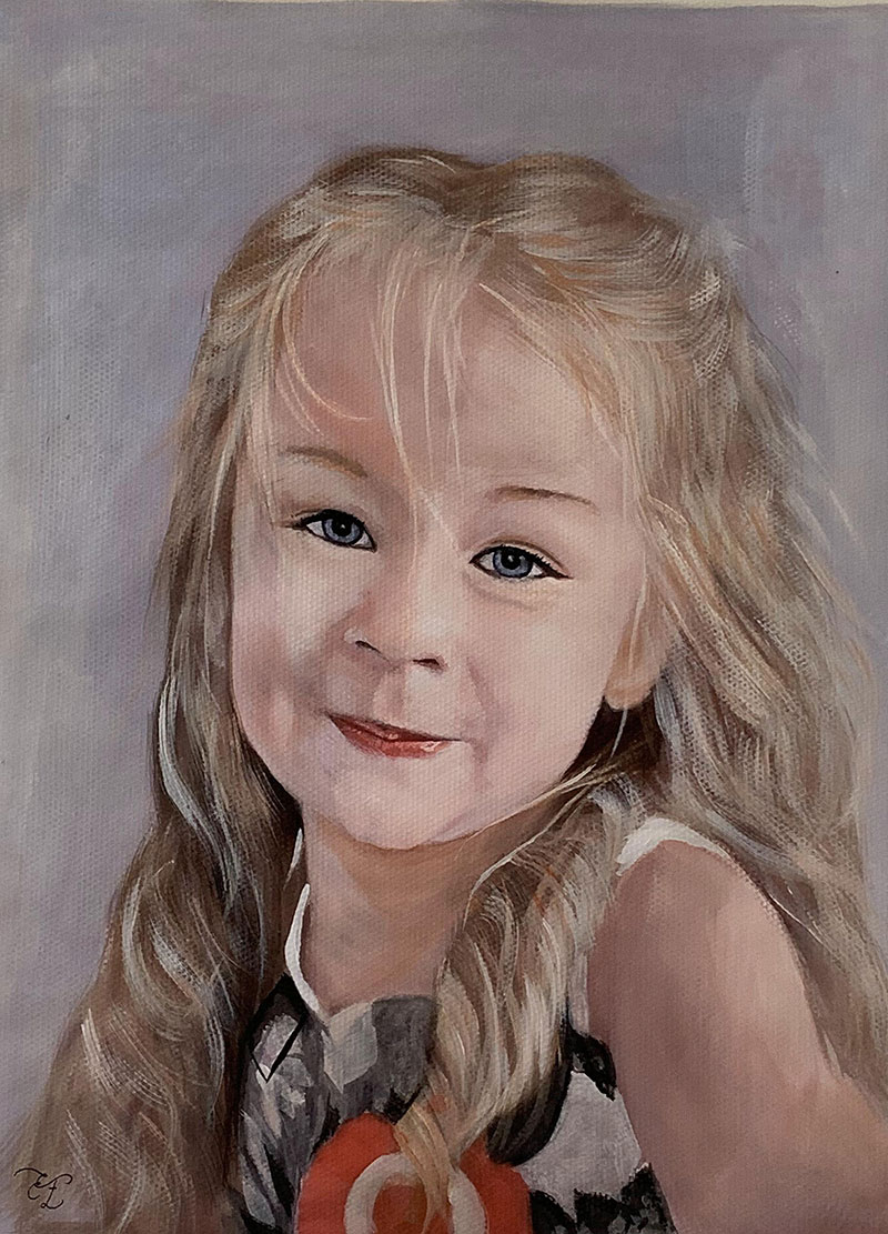 Beautiful pastel painting of a little girl