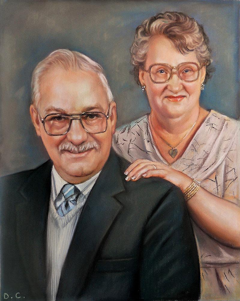 Custom pastel portrait of a couple