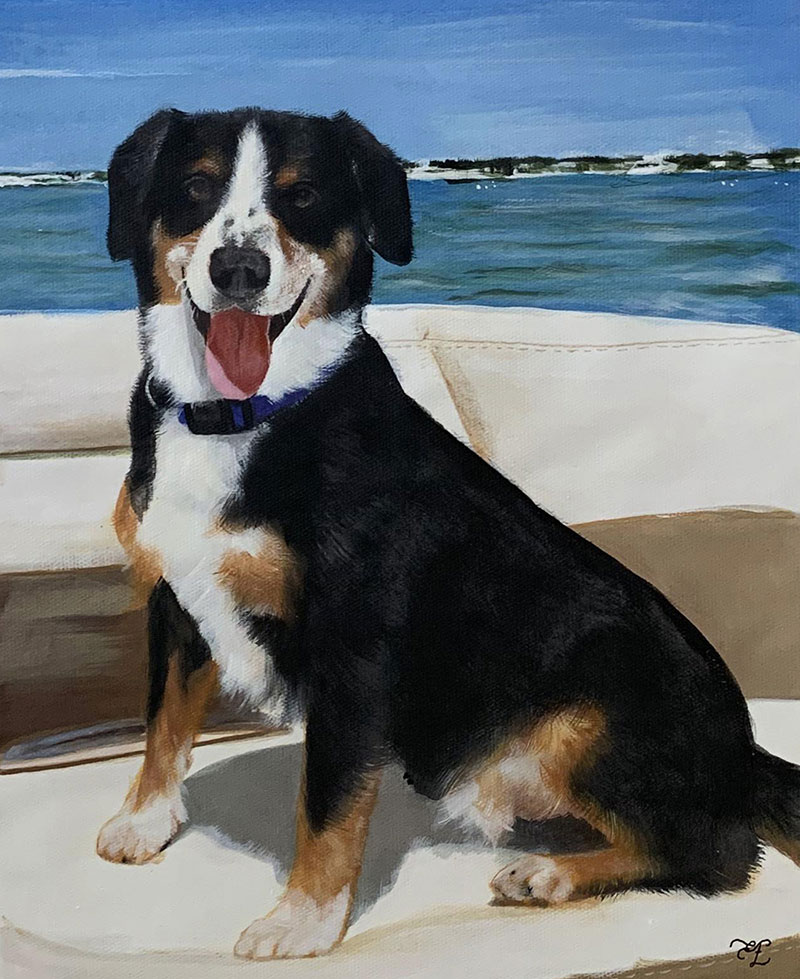 favorite memory come to life pastel painting of happy dog