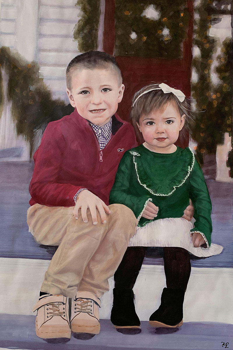 Custom pastel painting of two children