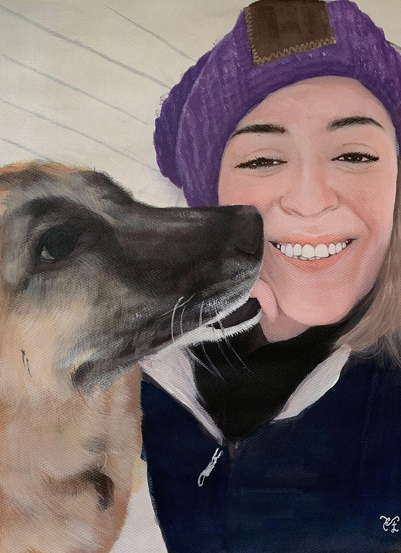 Custom pastel painting of an adult and pet