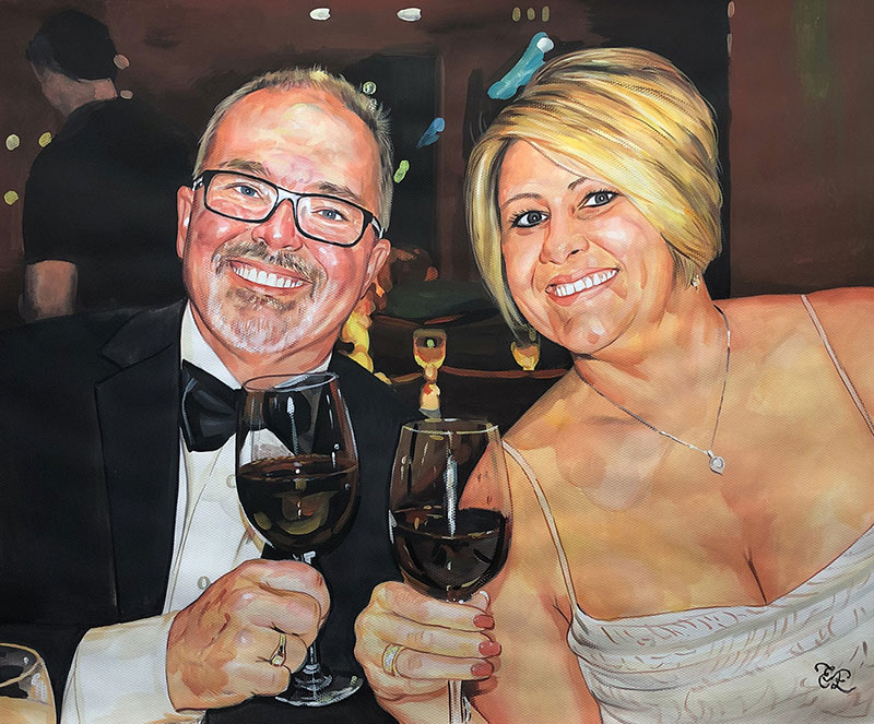 Custom pastel painting of a couple