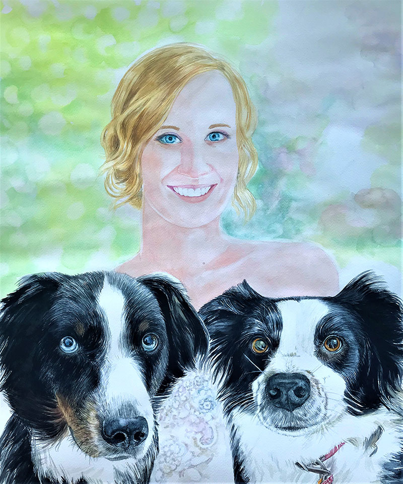 Beautiful watercolor painting of a lady with two dogs