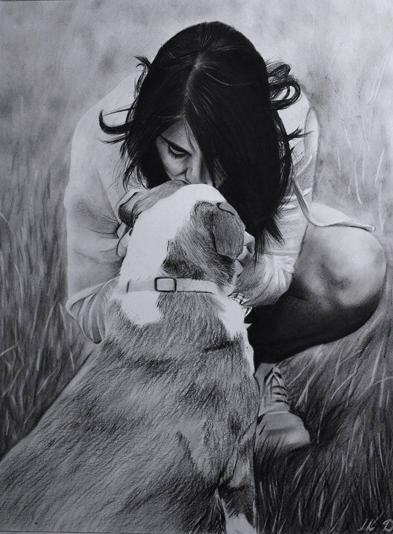 Custom charcoal drawing of a girl with dog