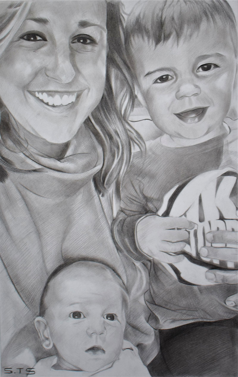 charcoal drawing from picture of mother and children