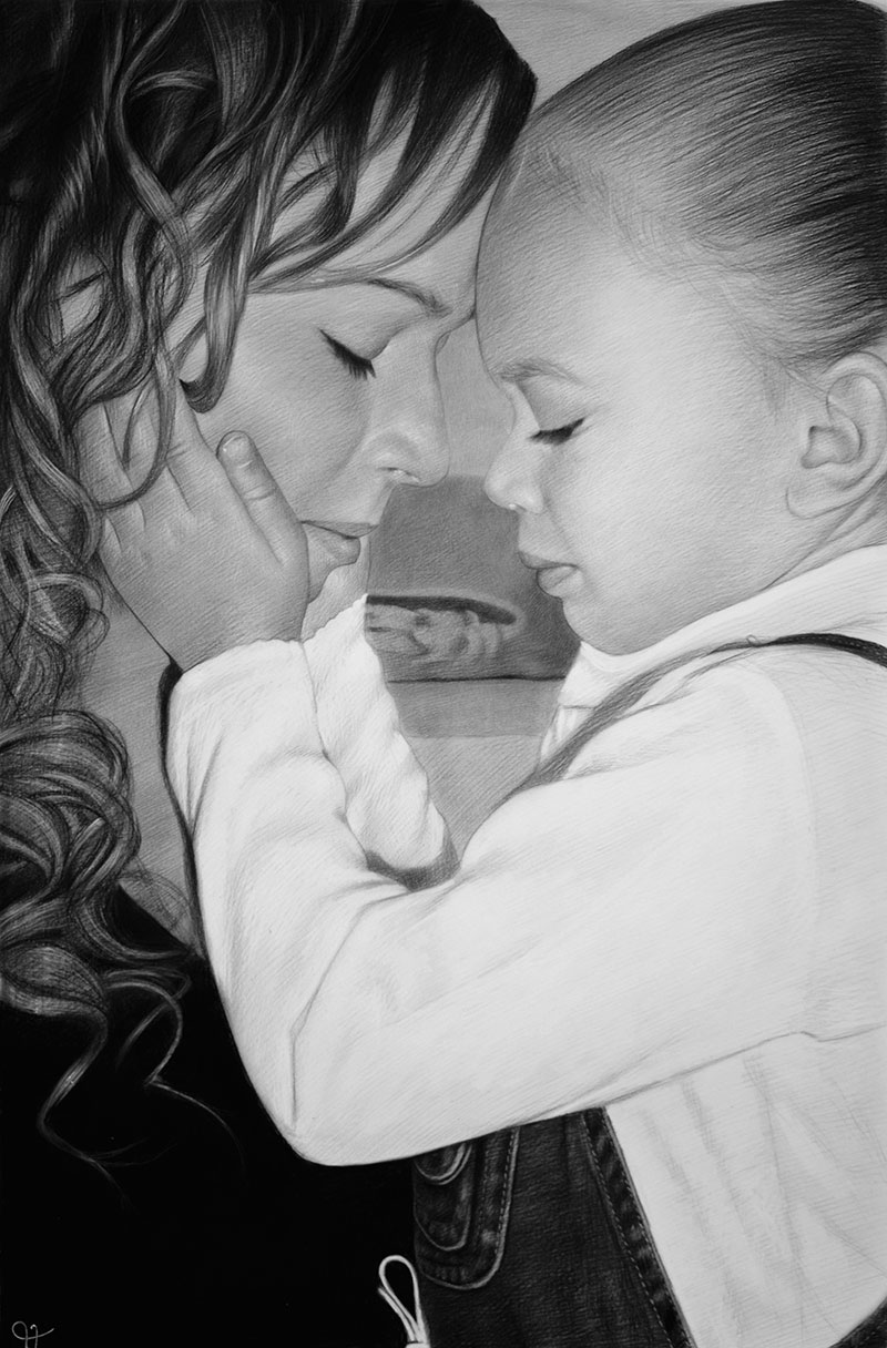 customized charcoal drawing mom and daughter head to head