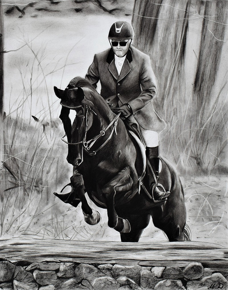 Custom charcoal drawing of a man riding a horse