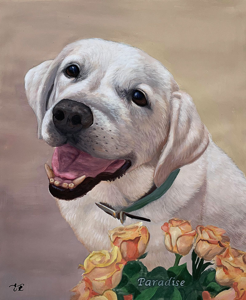 Custom handmade pastel painting of a dog