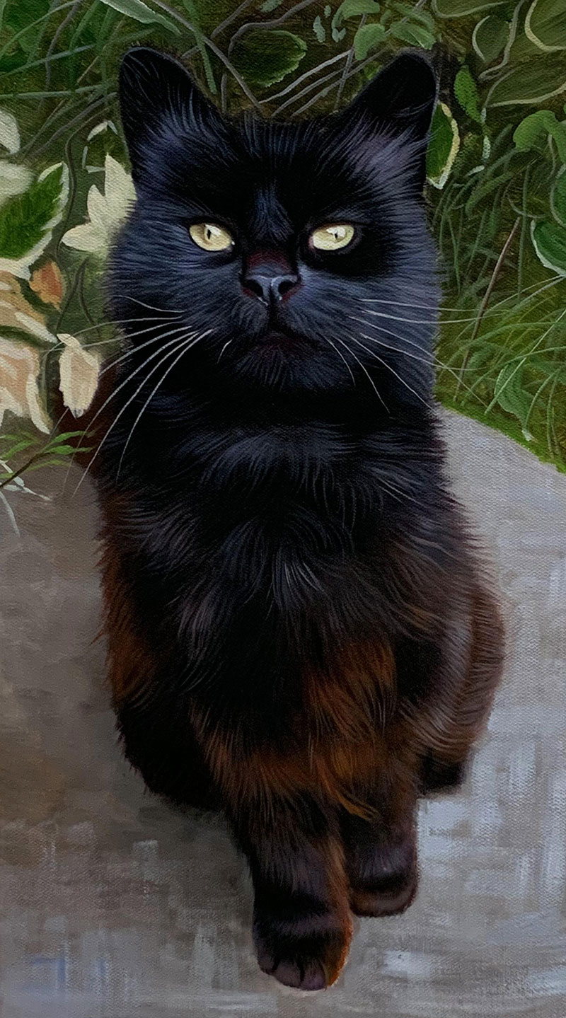 Beautiful acrylic painting of a black cat