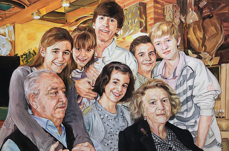 Custom handmade pastel family portrait of eight people