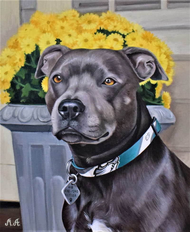 Custom acrylic painting of a dog