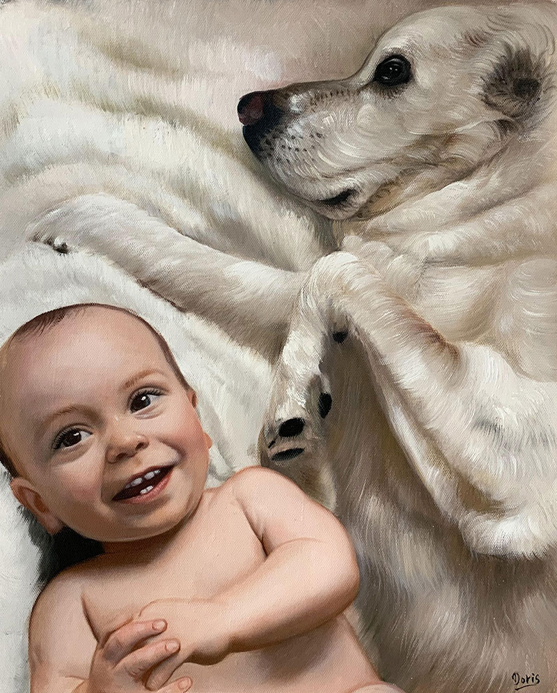Custom oil painting of a baby with dog