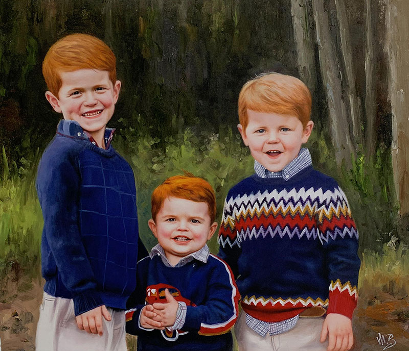 Beautiful oil painting of redhead children