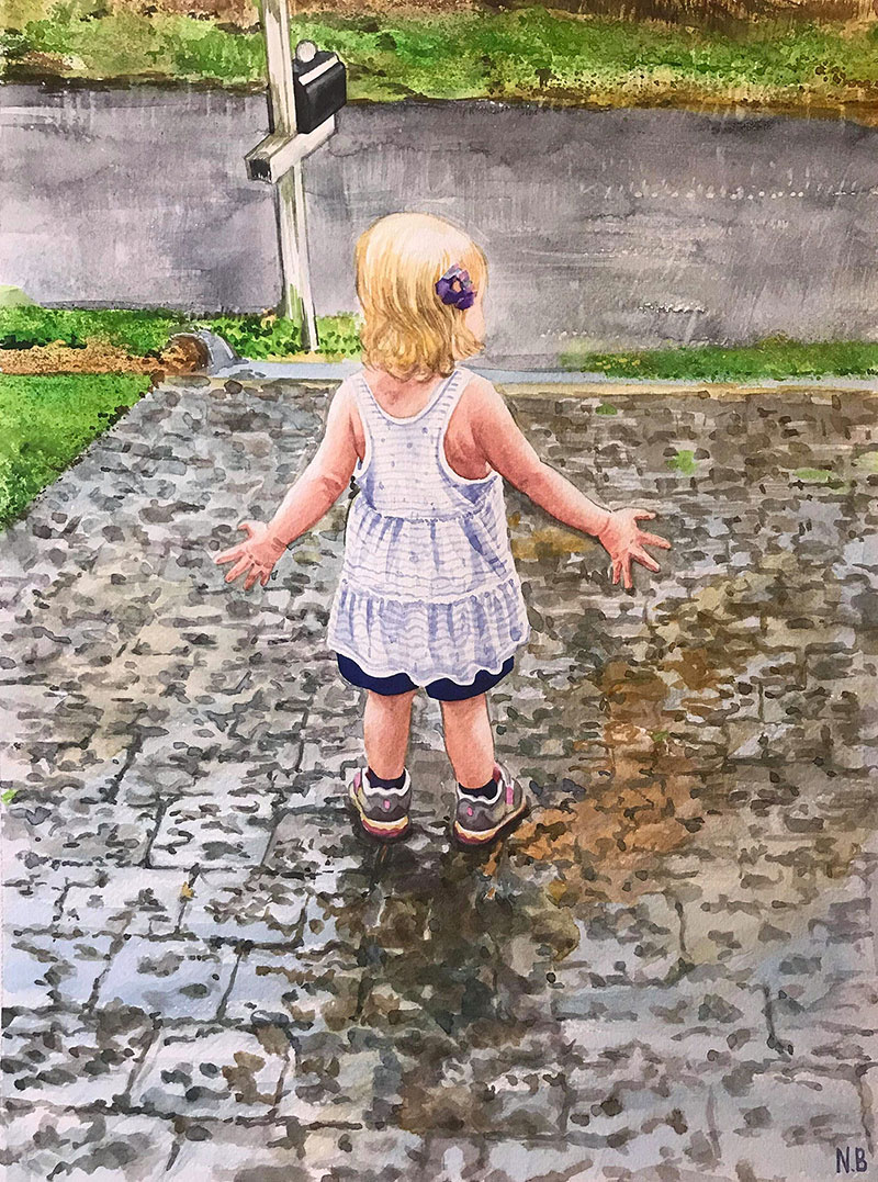 Custom watercolor painting of a girl