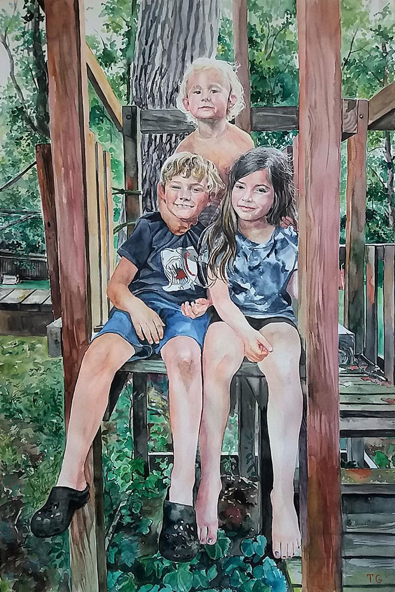 Beautiful watercolor painting of three children