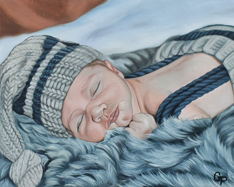Beautiful handmade oil painting of a child