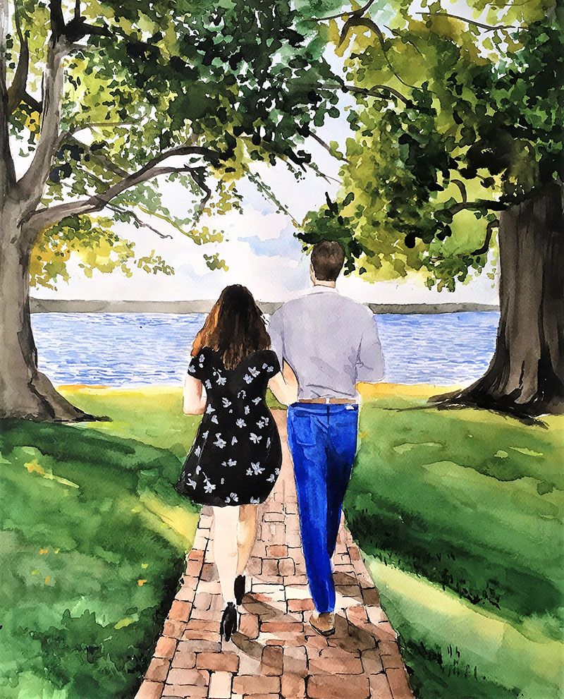 Custom handmade watercolor painting of a couple