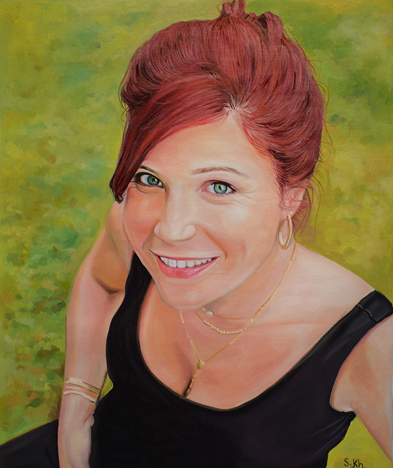 Custom oil painting of a lady