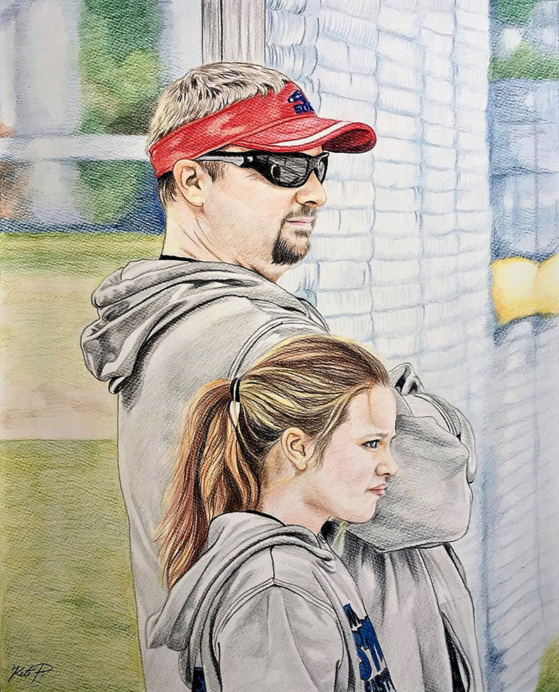 Custom color pencil painting of a father and daughter