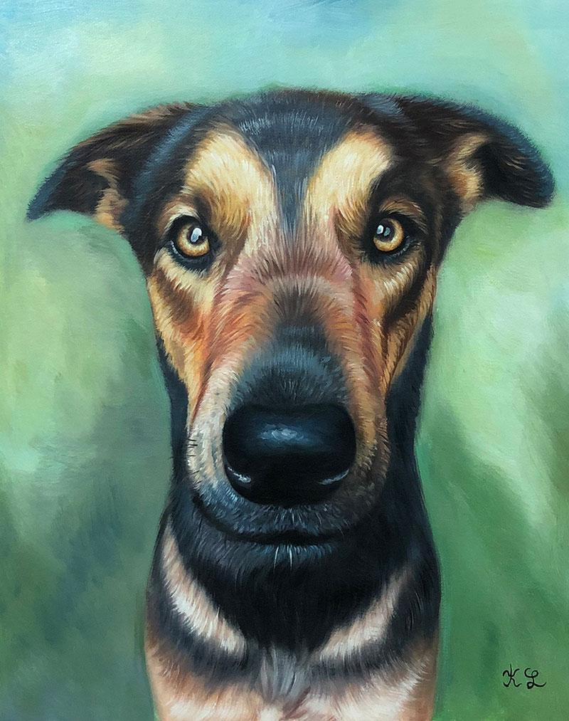 Beautiful handmade acrylic artwork of a dog