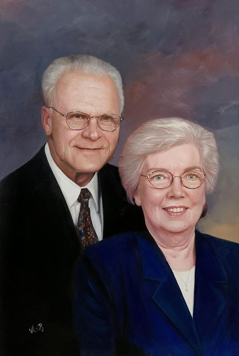 Custom oil painting of an elder couple