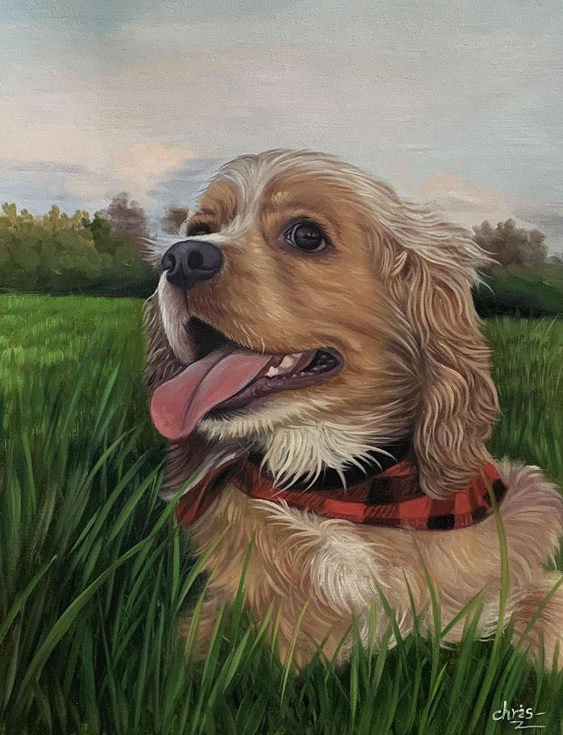 Beautiful handmade oil artwork of a dog