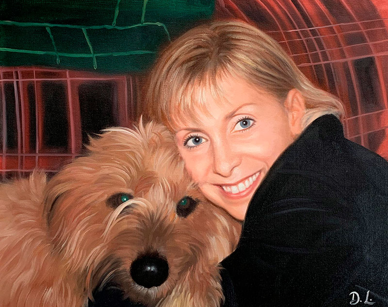 Beautiful oil painting of a woman with a dog