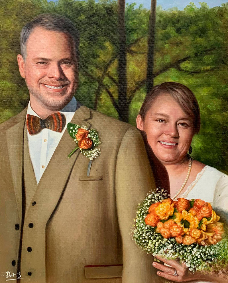 Gorgeous hand drawn oil artwork of a happy couple