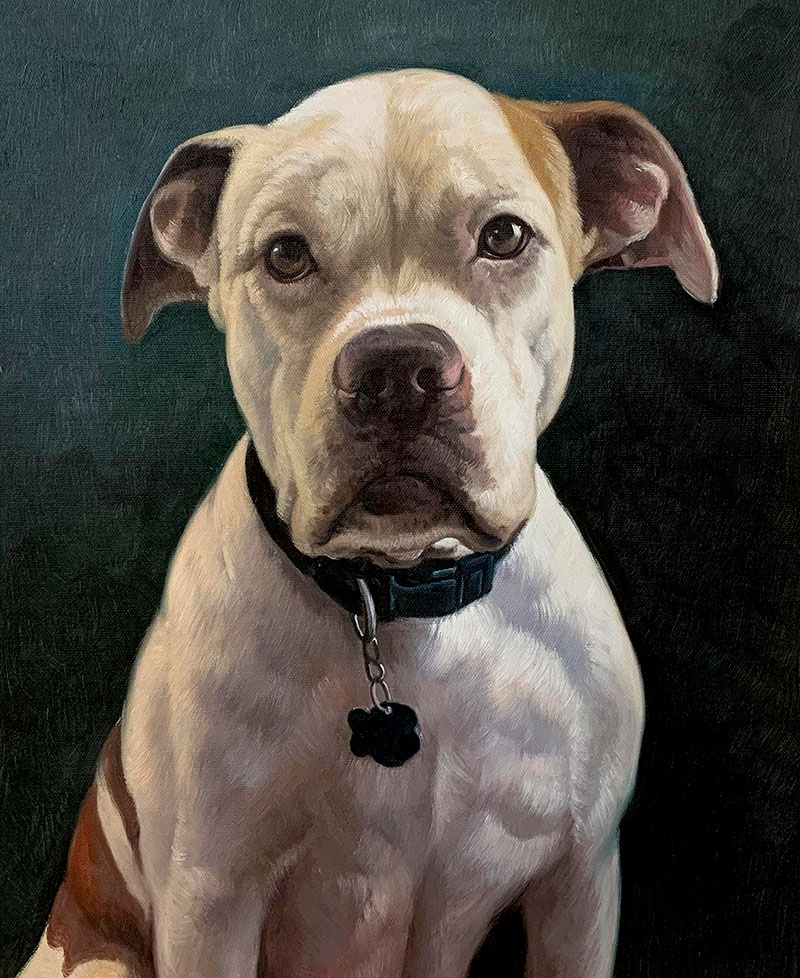 Beautiful close up oil artwork of a dog