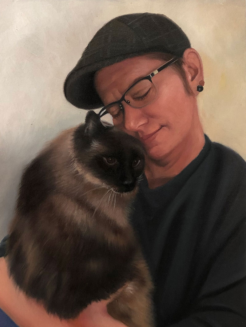 Beautiful oil painting of a man hugging a cat