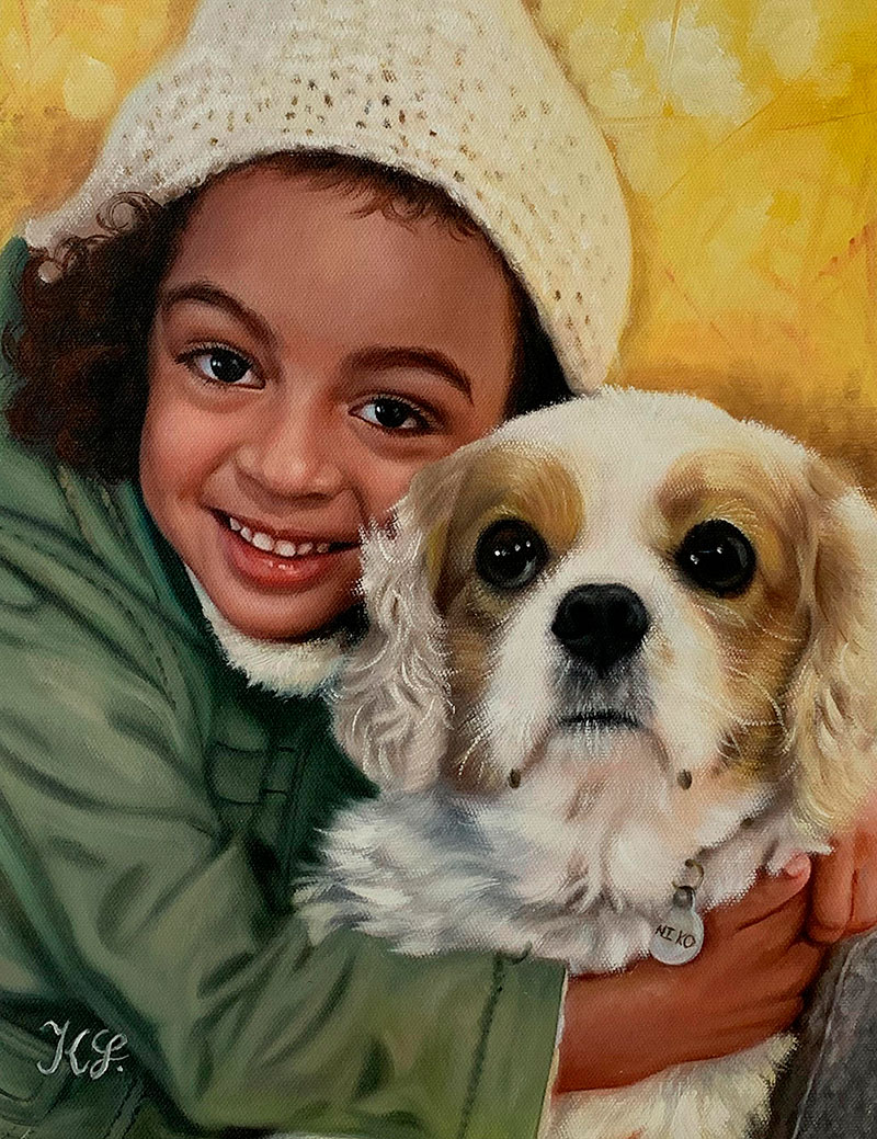 Beautiful oil artwork of a girl with a dog