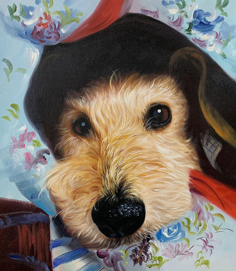 Custom close up oil painting of a dog