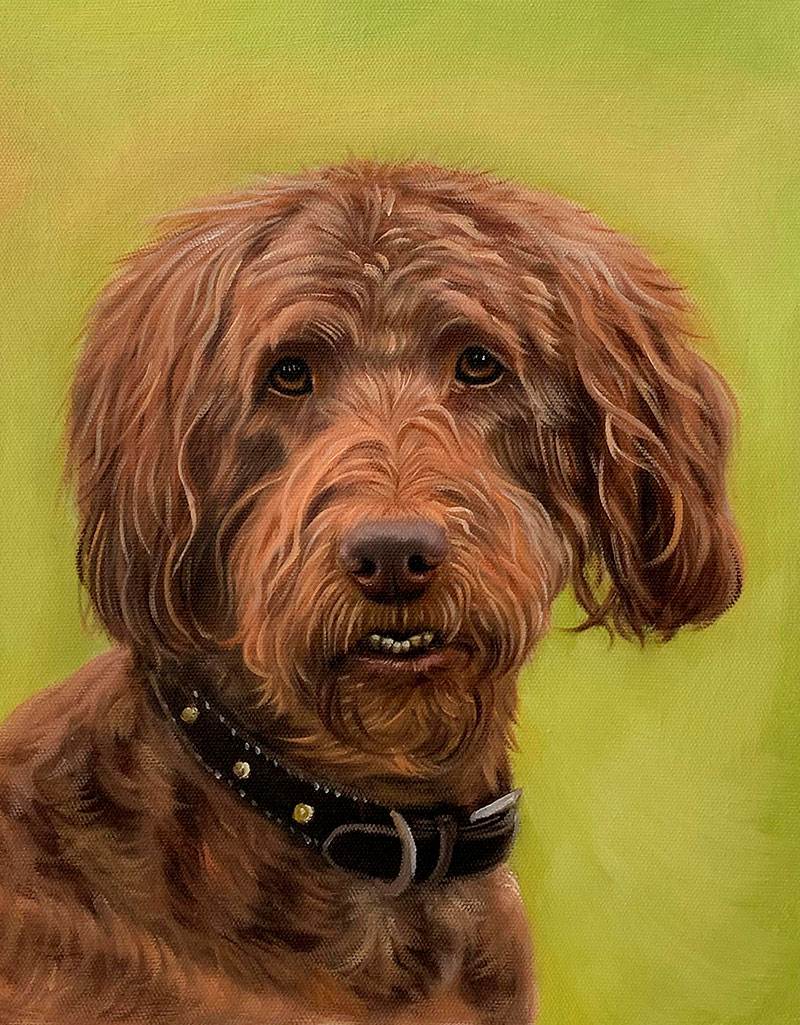 Close up oil painting of a dog with a solid background