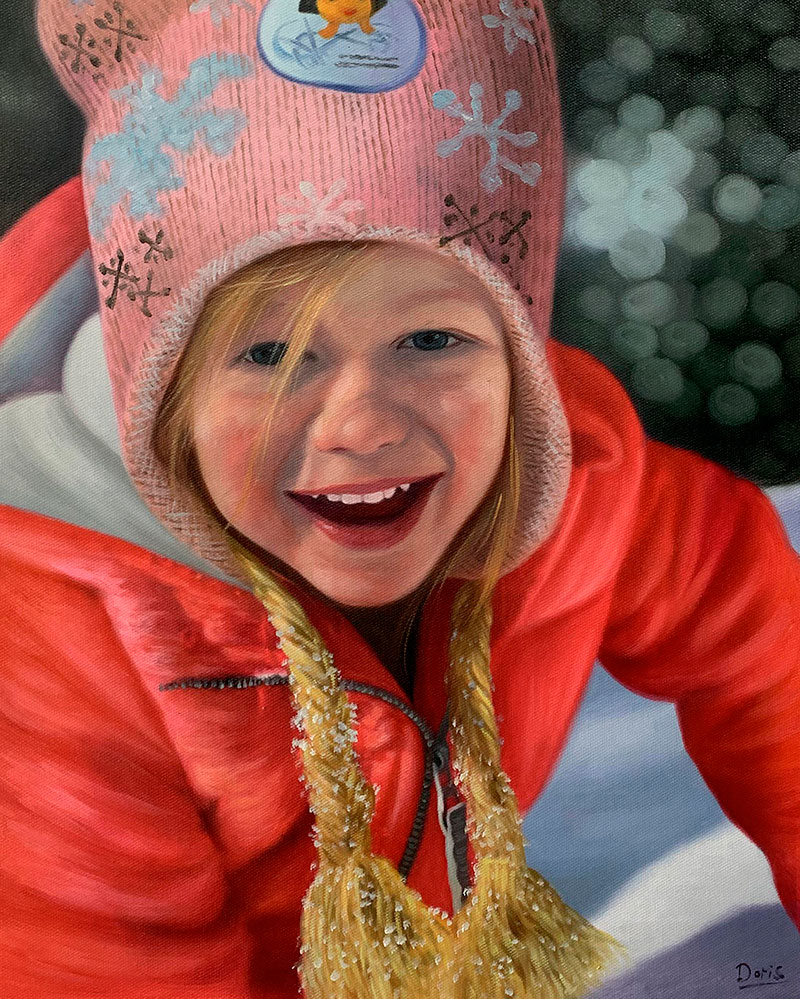 Hyper realistic oil painting of a girl
