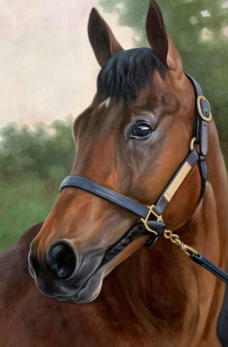 Close up oil artwork of a horse