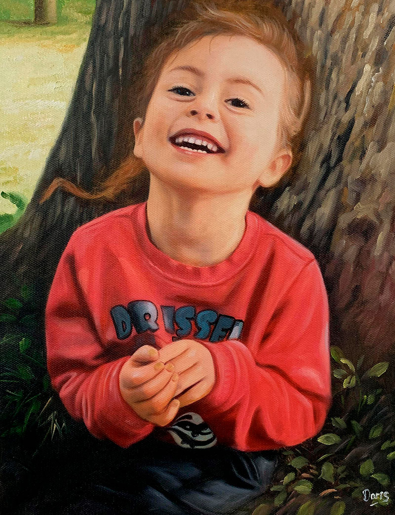 Personalized oil portrait of a smiling girl