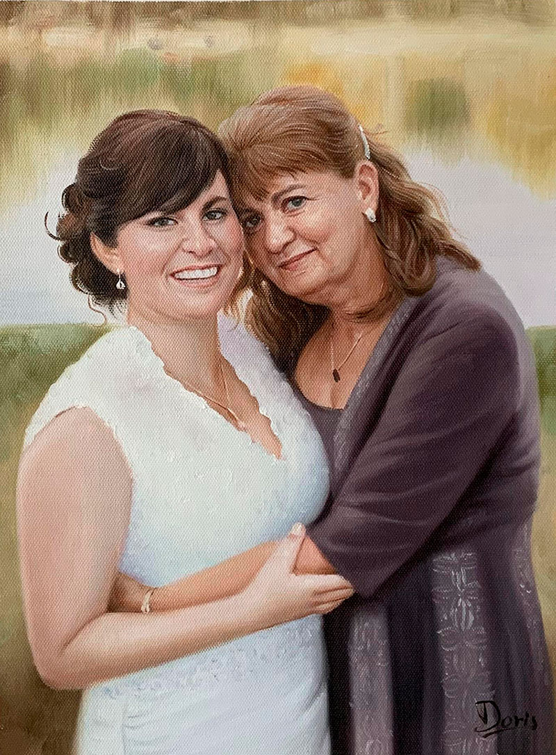 Beautiful oil artwork of a mother and a daughter