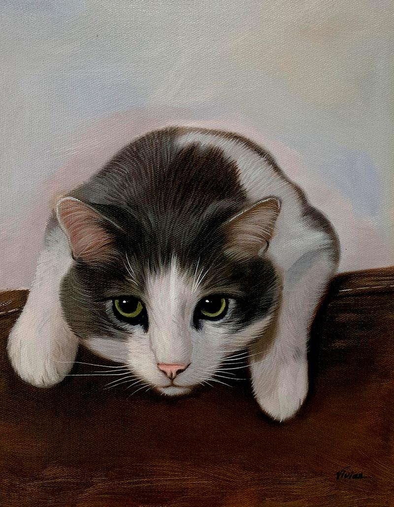 Beautiful handmade oil painting of a cat