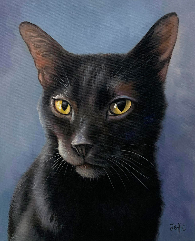 Beautiful close up oil painting of a cat