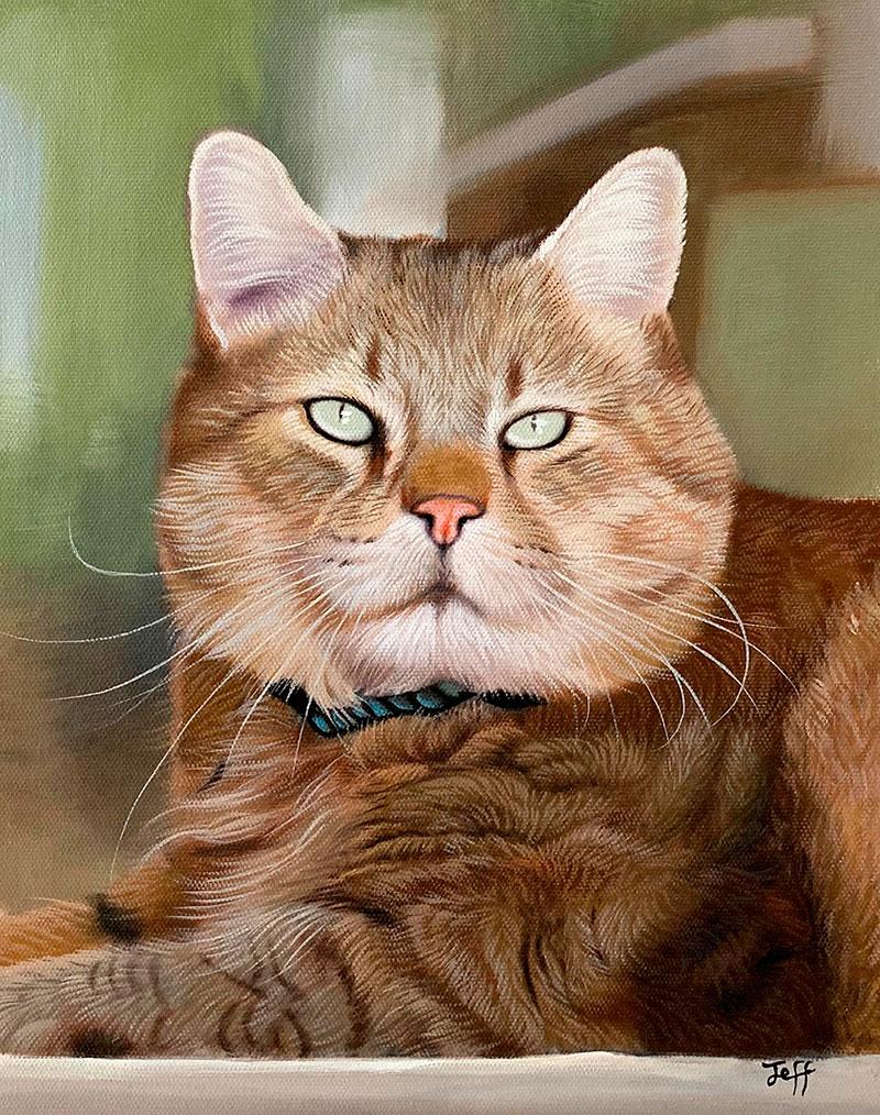 Custom close up oil artwork of a cat