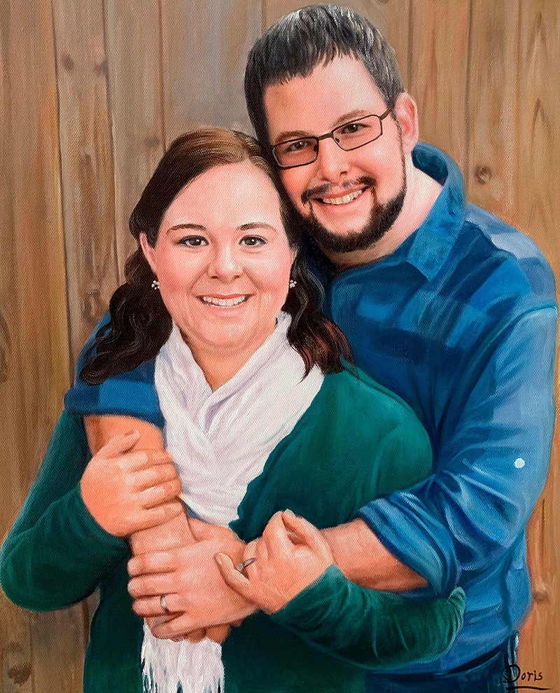 Beautiful hand drawn oil painting of a hugging couple