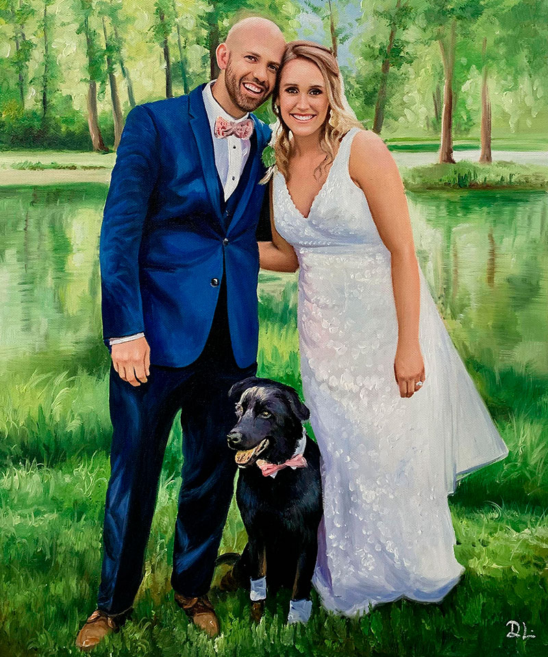 Gorgeous hand drawn oil painting of a just married couple