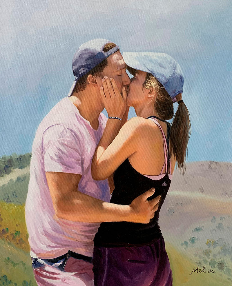 Gorgeous oil painting of a kissing couple