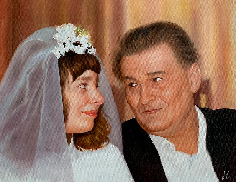 Beautiful oil painting of a father and a daughter