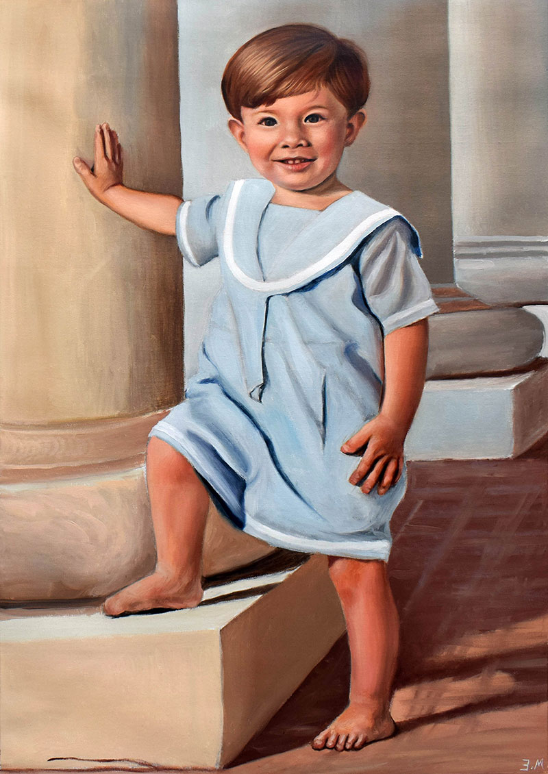 Personalized vintage oil painting of a little boy