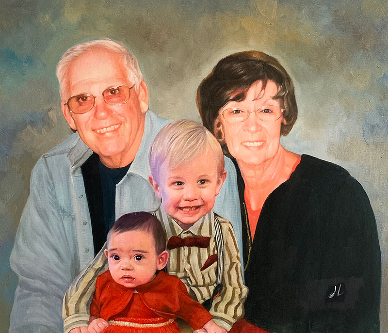 Personalized oil artwork of a family